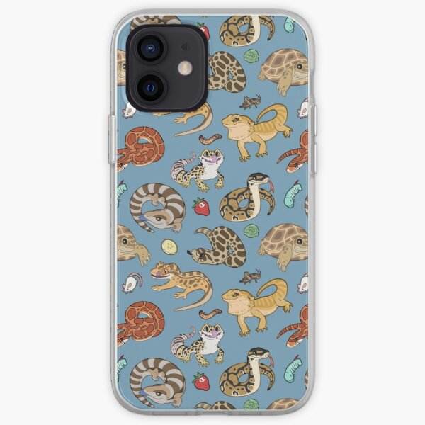 Reptile Pets Pattern - Blue iPhone Soft Case