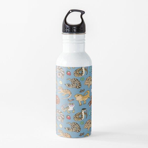 Reptile Pets Pattern - Blue Water Bottle