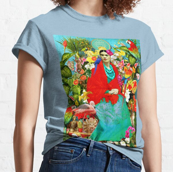 Frida Kahlo with Mexican Animals, Plants, Birds Classic T-Shirt