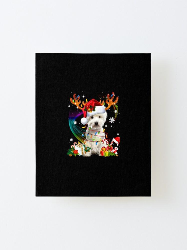 Alternate view of Westie Reindeer Christmas Tree Lights Mounted Print