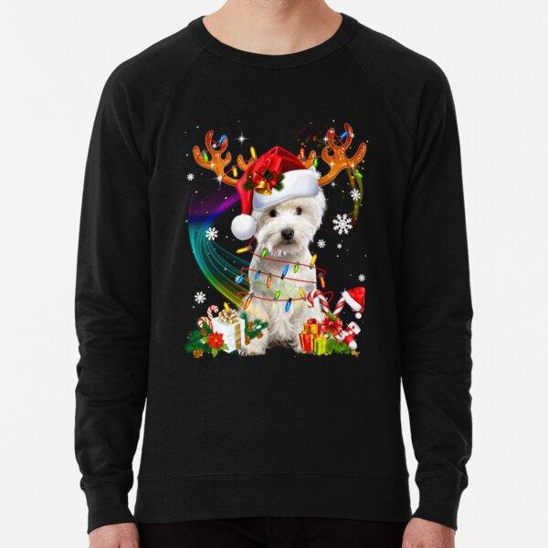 Westie Reindeer Christmas Tree Lights Lightweight Sweatshirt