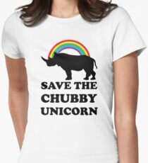 Save The Chubby Unicorn, Funny Rhino Women's Fitted T-Shirt