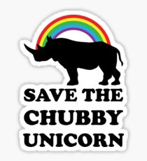 Save The Chubby Unicorn, Funny Rhino Sticker
