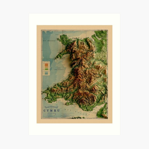 1913 Wales Relief Map 3D digitally-rendered Art Print