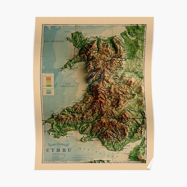 1913 Wales Relief Map 3D digitally-rendered Poster