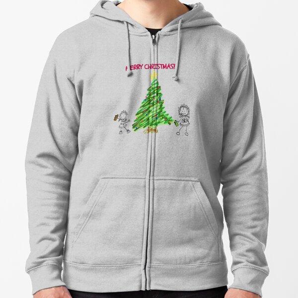 Graffiti Merry Christmas Tree Zipped Hoodie