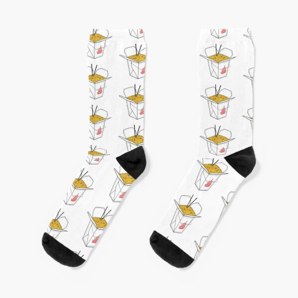Chinese Take Out Noodles Box  Socks