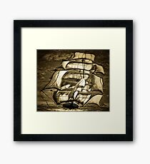 A digital painting of A Clipper Ship in Full Sail Framed Print
