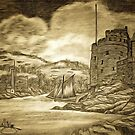 A digital painting of my pencil drawing of Dartmouth and Kingswear Castles, Devon by Dennis Melling
