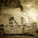 A digital painting of my pencil drawing of Frickley Colliery, South Elmsall, Yorkshire early 20th century by Dennis Melling