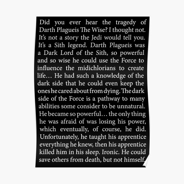 Tragedy of Darth Plagueis The Wise full text [Dark Mode] Poster