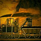 My digital painting of A Blenkinsop Locomotive at Frickley Colliery in Yorkshire by Dennis Melling