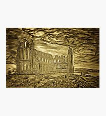 A digital painting of my pencil drawing of Whitby Abbey, Yorkshire, England Photographic Print