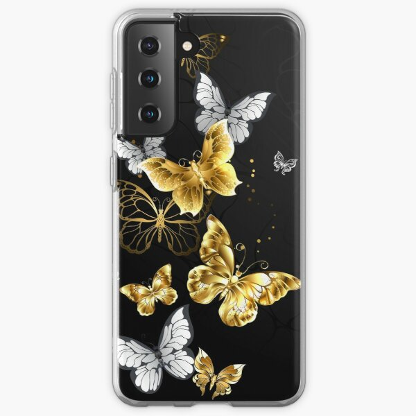 Gold and White Butterflies on black background Samsung Galaxy Soft Case
