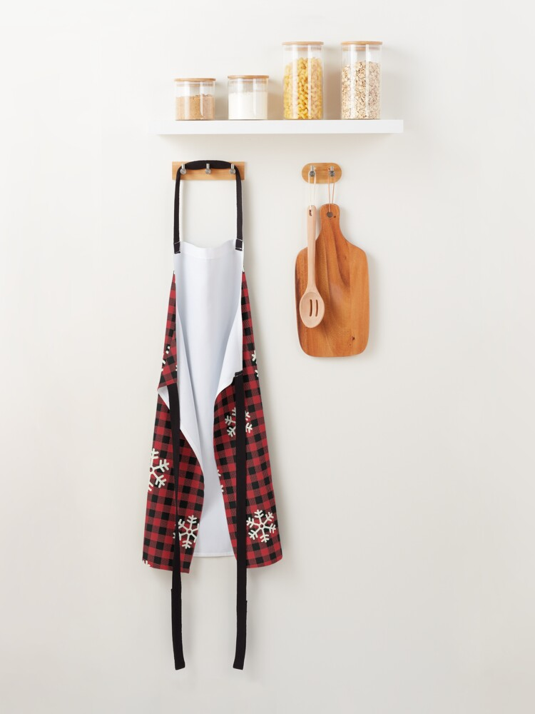 Alternate view of Christmas Plaid with Snowflakes Apron