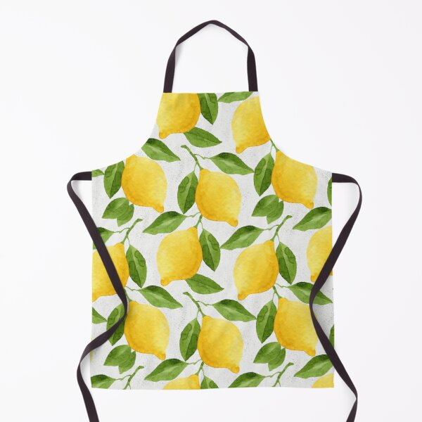 Watercolor Lemon Pattern Apron