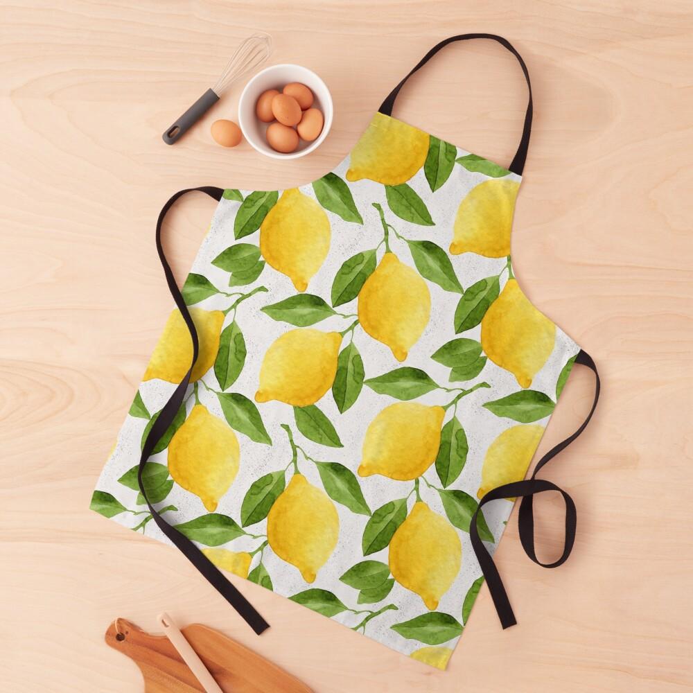 Watercolor Lemon Pattern Apron