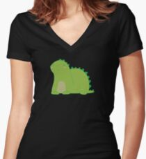 Happy Green Dinosaur Women's Fitted V-Neck T-Shirt