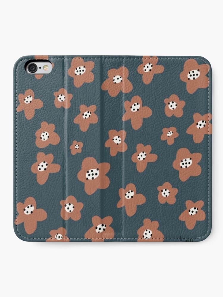 Alternate view of Pink Daisies on blue. Floral digital pattern original work iPhone Wallet