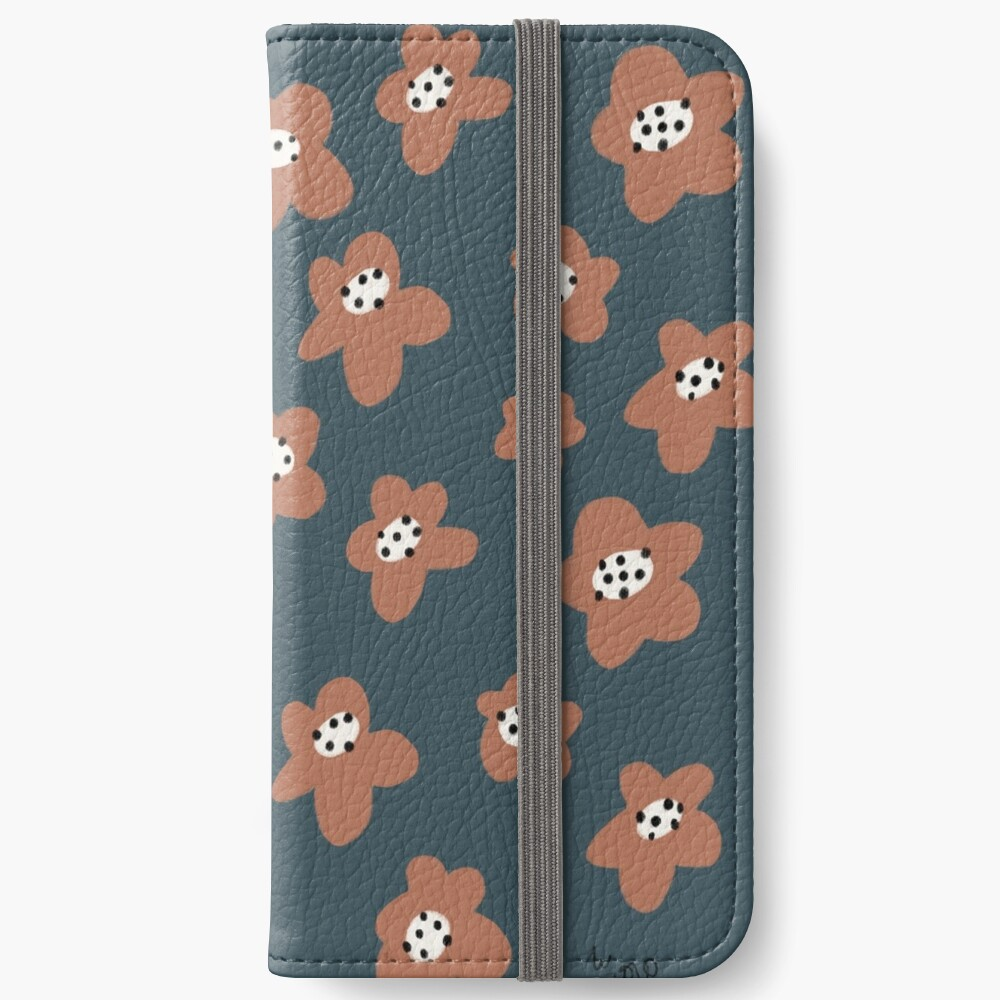 Pink Daisies on blue. Floral digital pattern original work iPhone Wallet