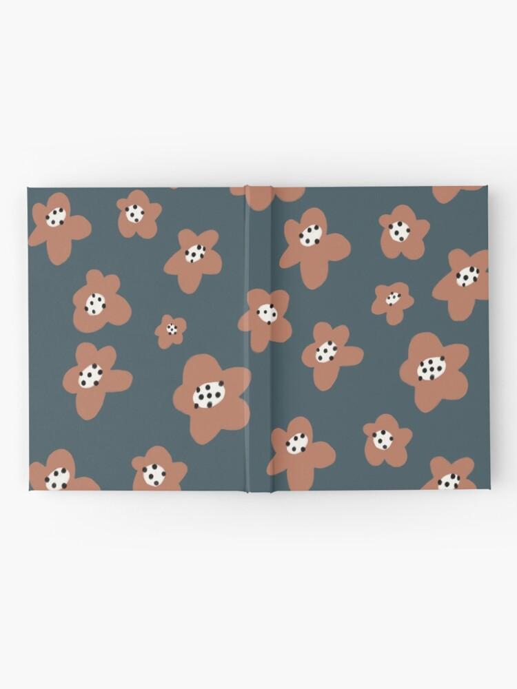 Alternate view of Pink Daisies on blue. Floral digital pattern original work Hardcover Journal