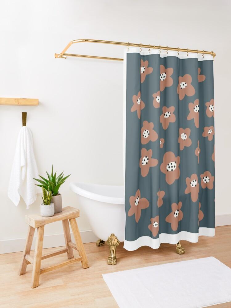 Alternate view of Pink Daisies on blue. Floral digital pattern original work Shower Curtain