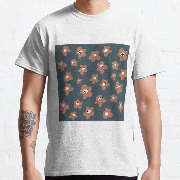 Pink Daisies on blue. Floral digital pattern original work Classic T-Shirt