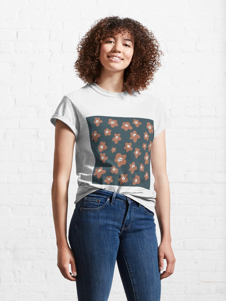 Alternate view of Pink Daisies on blue. Floral digital pattern original work Classic T-Shirt