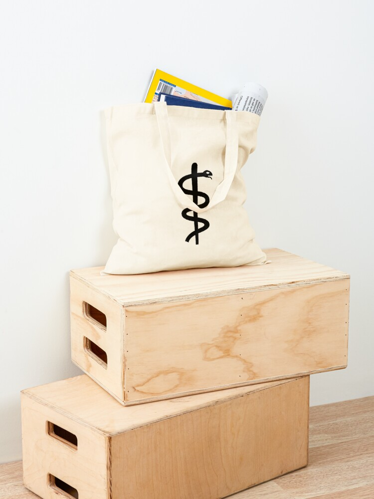 """Alternate view of Unicode Character """"⚕"""" (U+2695) Staff of Aesculapius Tote Bag"""