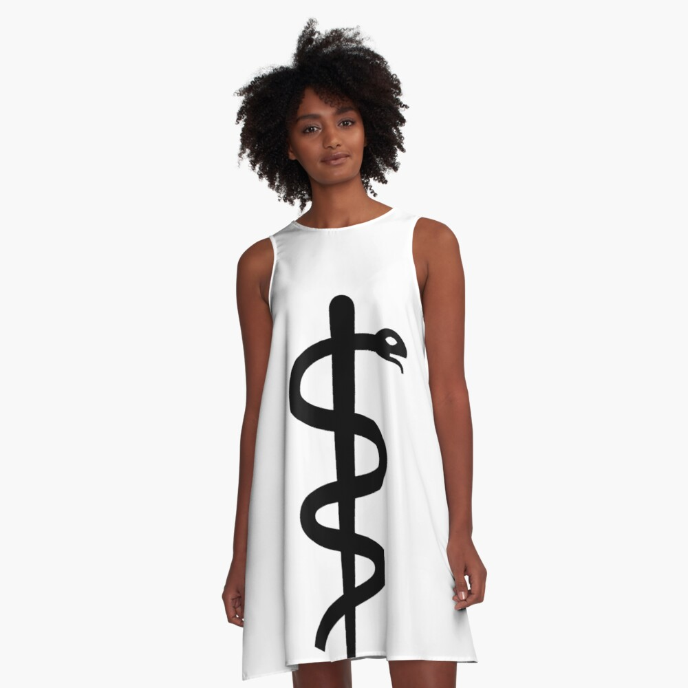 """Unicode Character """"⚕"""" (U+2695) Staff of Aesculapius A-Line Dress"""
