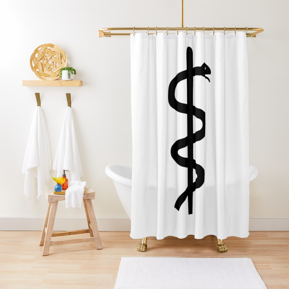 "Unicode Character ""⚕"" (U+2695) Staff of Aesculapius Shower Curtain"