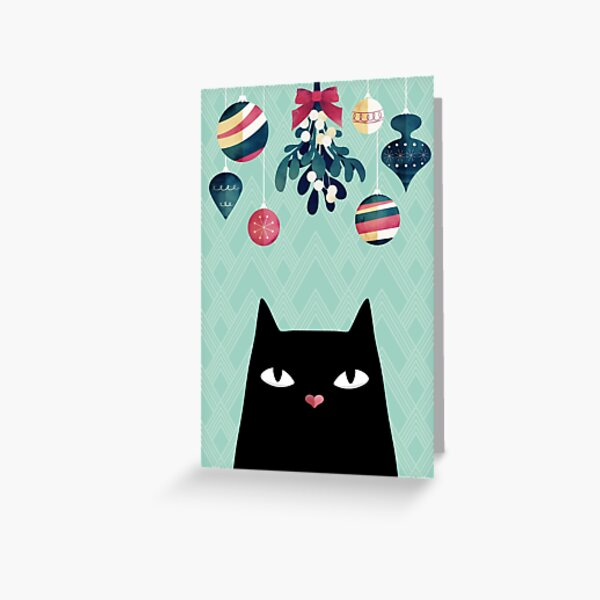 Mistletoe? (Black Cat) Greeting Card