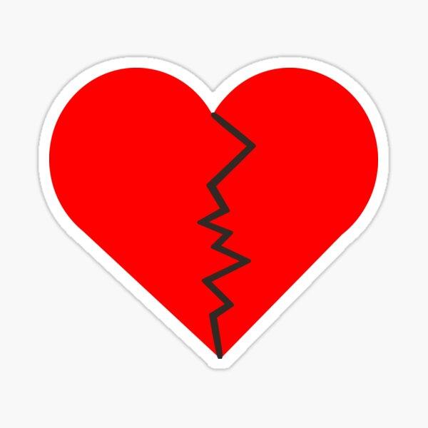 broken heart /broken hearted best for mask,t shirt,chiffon tops,stickers journal,notebook and more Sticker