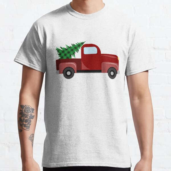 Christmas red truck with christmas tree with green buffalo plaid Classic T-Shirt
