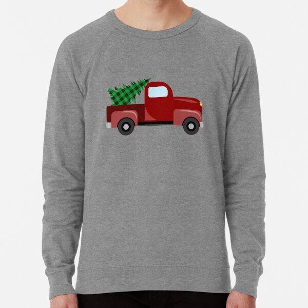 Christmas red truck with christmas tree with green buffalo plaid Lightweight Sweatshirt