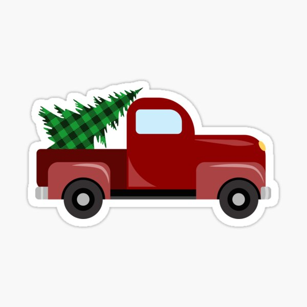Christmas red truck with christmas tree with green buffalo plaid Sticker