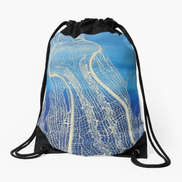Jellyfish in Cream White Fan Coral Drawstring Bag