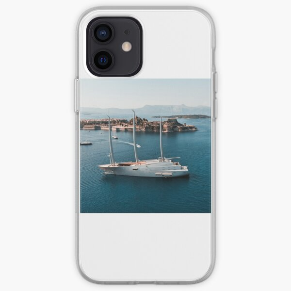 Superyacht at old Fortress of Corfu iPhone Soft Case