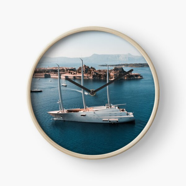 Superyacht at old Fortress of Corfu Clock