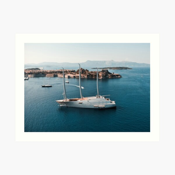 Superyacht at old Fortress of Corfu Art Print