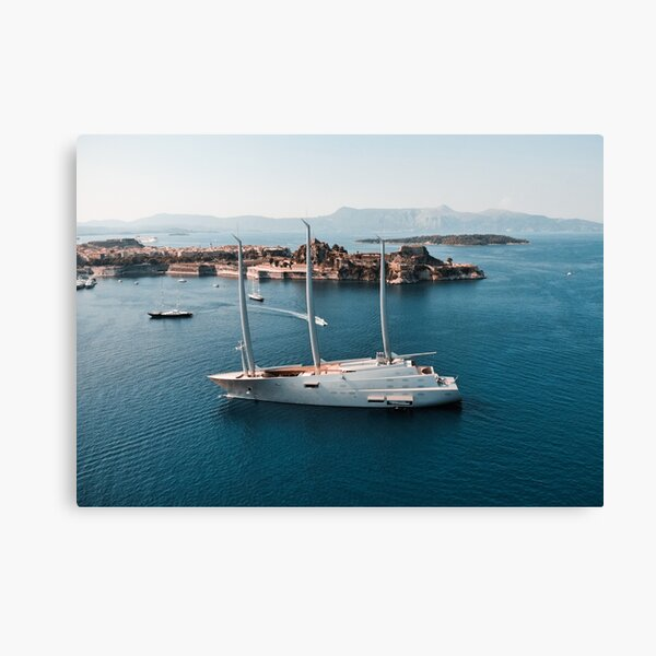 Superyacht at old Fortress of Corfu Canvas Print