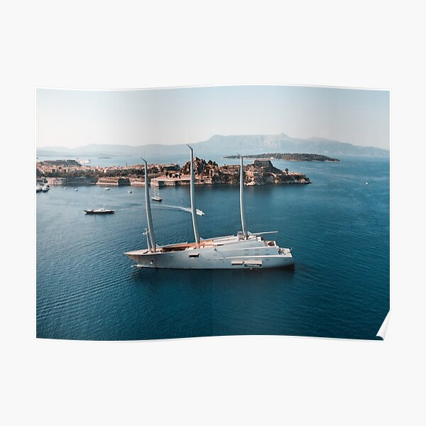 Superyacht at old Fortress of Corfu Poster