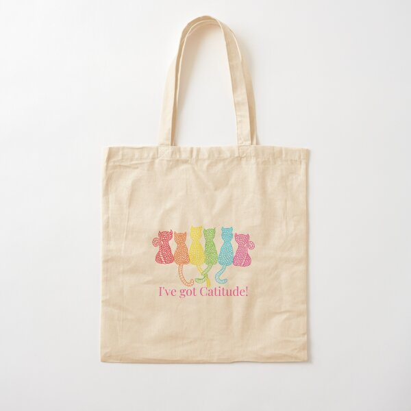 I've got Catitude! - Dark Background Cotton Tote Bag
