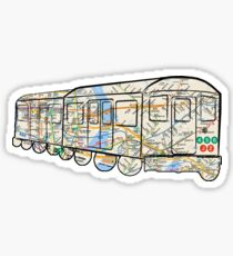 NYC Subway Map on a NYC subway car which goes too NYC, east river, Brooklyn, queens, Bronxs, Manhattan Sticker