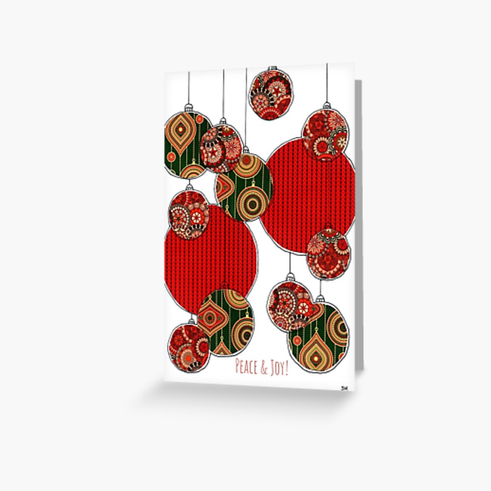 Peace & Joy! baubles Greeting Card