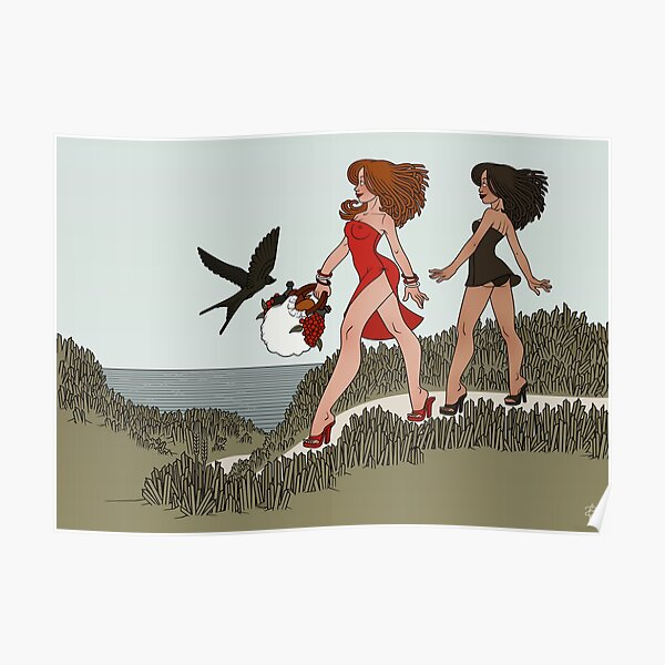 Girlfriends going to picnic on the beach Poster