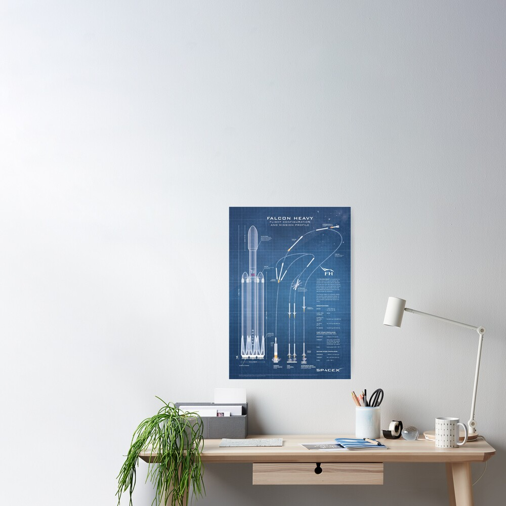 SpaceX Falcon Heavy Spacecraft NASA Rocket Blueprint in High Resolution (light blue) Poster