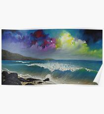 Original colorful seascape painting with ocean waves and a bright bold stormy sky Poster
