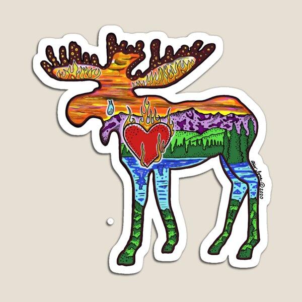 Heart Afire Moose Magnet