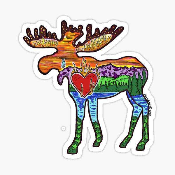 Heart Afire Moose Sticker